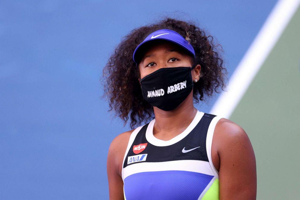Naomi Osaka at the US Open supporting Black Lives Matter